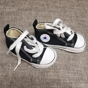 Converse black high tops infant size 2